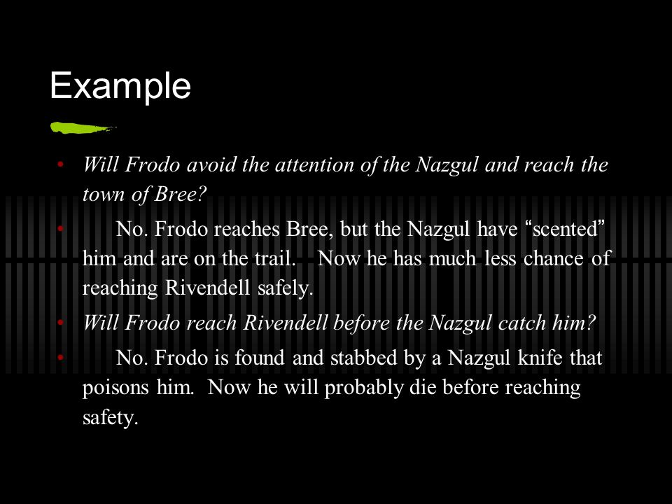 Example Will Frodo avoid the attention of the Nazgul and reach the town of Bree.