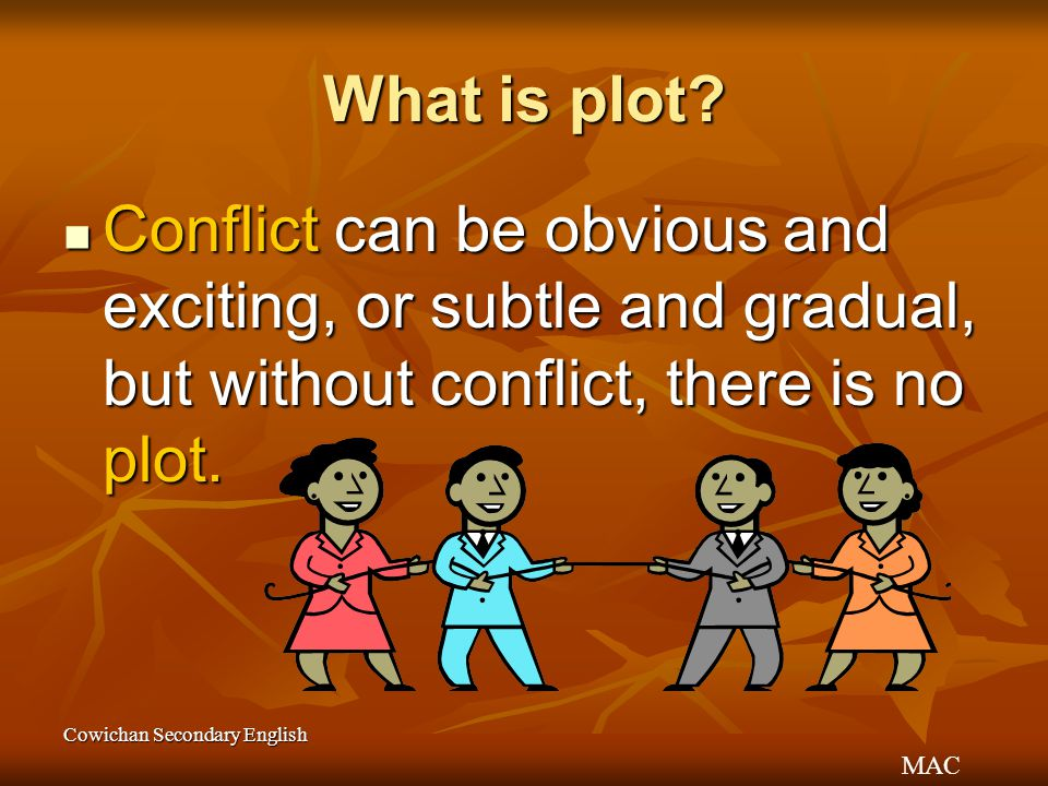MAC Cowichan Secondary English What is plot? Conflict can be obvious and exciting, or subtle and gradual, but without conflict, there is no plot. Conf