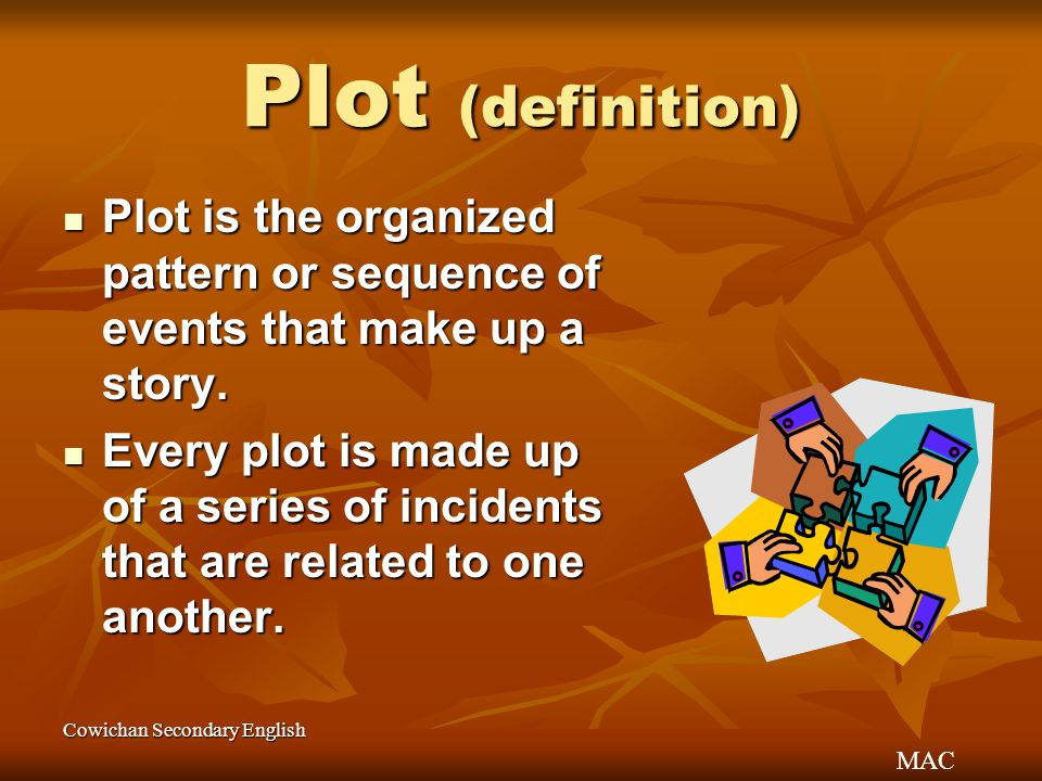 MAC Cowichan Secondary English Plot (definition) Plot is the organized pattern or sequence of events that make up a story. Plot is the organized patte