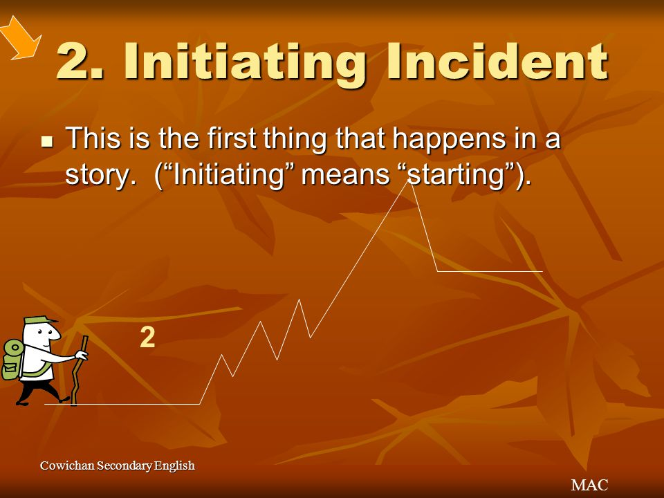 "MAC Cowichan Secondary English 2. Initiating Incident This is the first thing that happens in a story. (""Initiating"" means ""starting""). This is the fi"