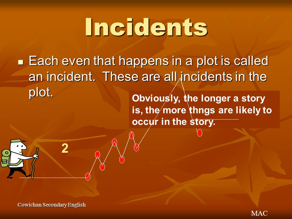 MAC Cowichan Secondary English Incidents Each even that happens in a plot is called an incident. These are all incidents in the plot. Each even that h