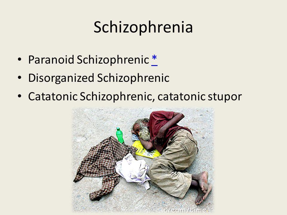 Schizophrenia Paranoid Schizophrenic ** Disorganized Schizophrenic Catatonic Schizophrenic, catatonic stupor