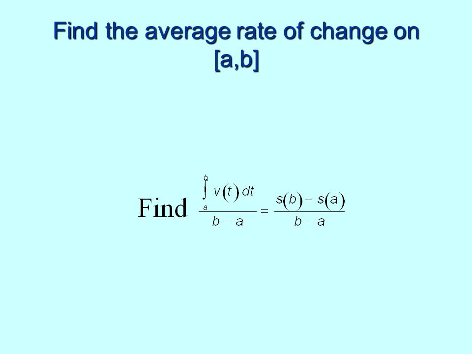 Find the average rate of change on [a,b]
