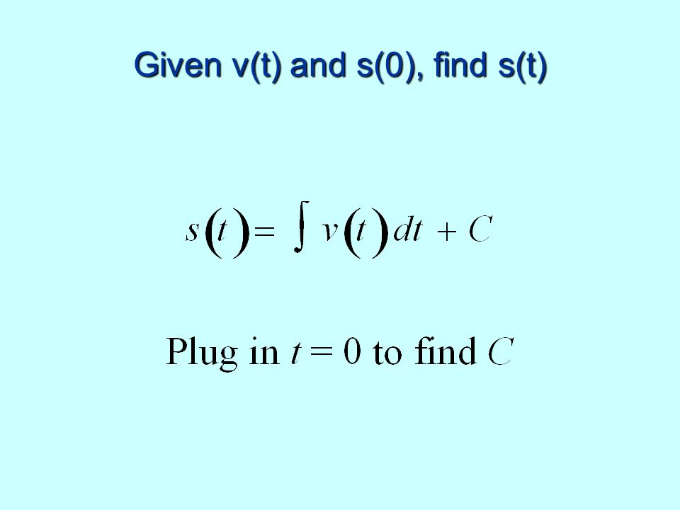 Given v(t) and s(0), find s(t)