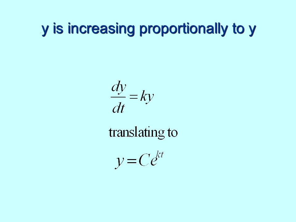 y is increasing proportionally to y. y is increasing proportionally to y