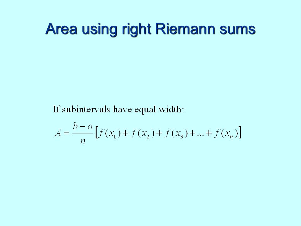 Area using right Riemann sums