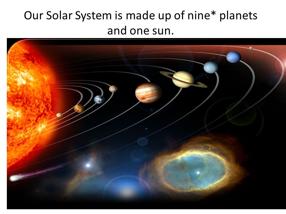 Our Solar System is made up of nine* planets and one sun.