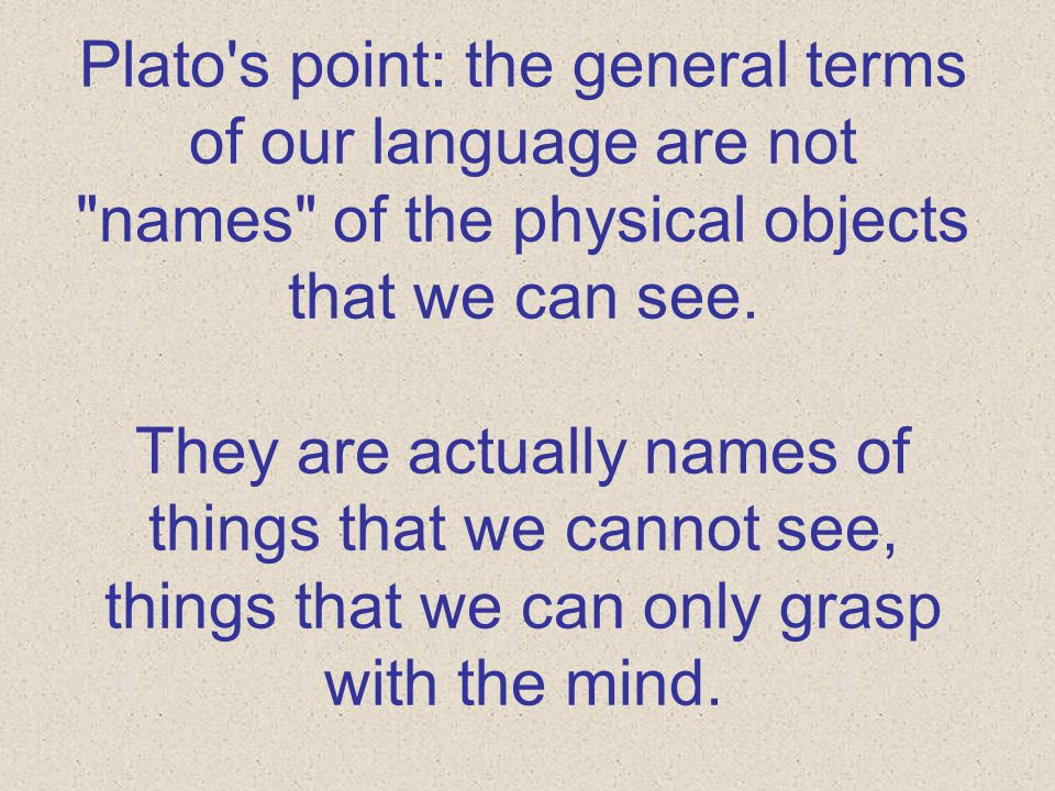 Plato's point: the general terms of our language are not
