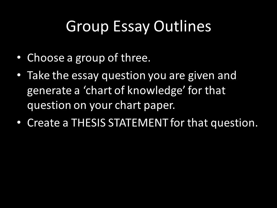 Group Essay Outlines Choose a group of three.