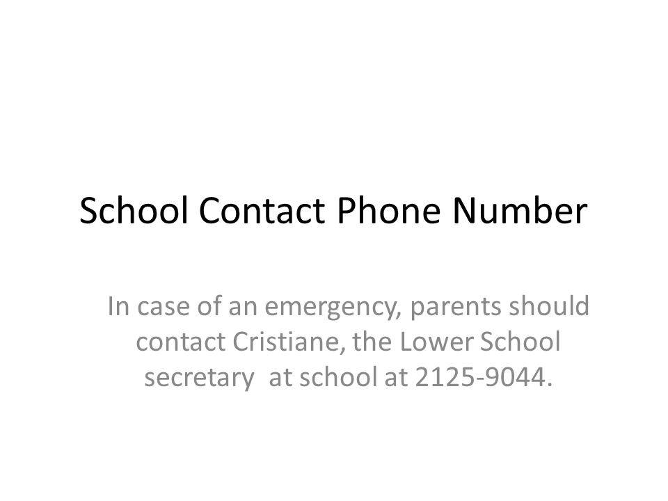 School Contact Phone Number In case of an emergency, parents should contact Cristiane, the Lower School secretary at school at 2125-9044.