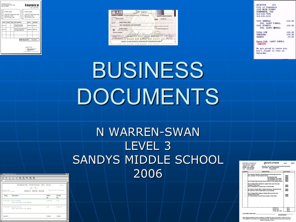 Business Documents Business documents A document is used in business as proof of a transaction that took place.