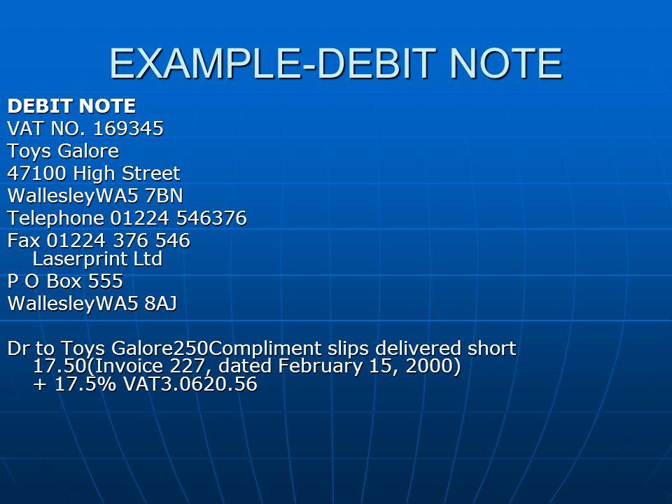 EXAMPLE-DEBIT NOTE DEBIT NOTE VAT NO.