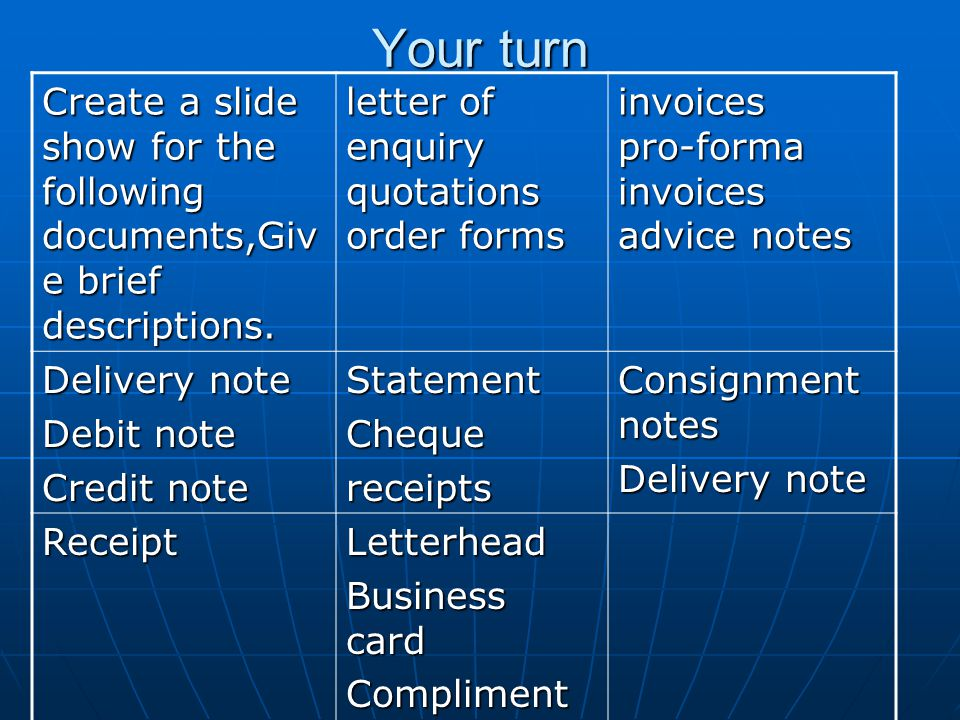 Your turn Create a slide show for the following documents,Giv e brief descriptions.
