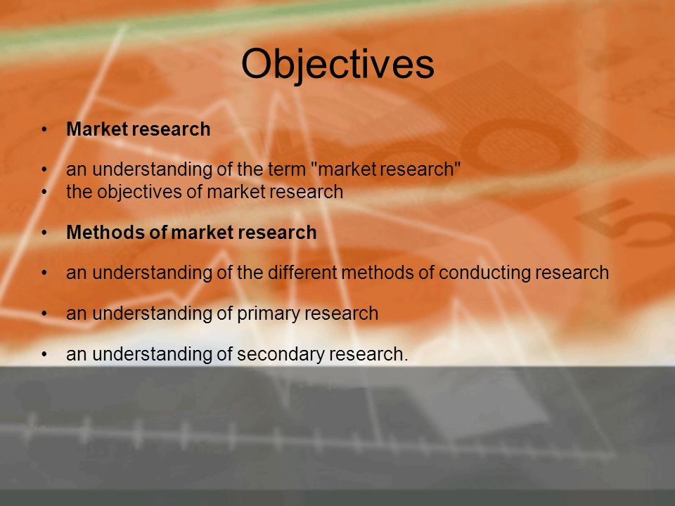 Objectives Market research an understanding of the term market research the objectives of market research Methods of market research an understanding of the different methods of conducting research an understanding of primary research an understanding of secondary research.