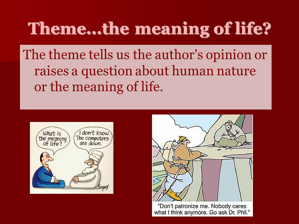 Theme...the meaning of life? The theme tells us the author's opinion or raises a question about human nature or the meaning of life.
