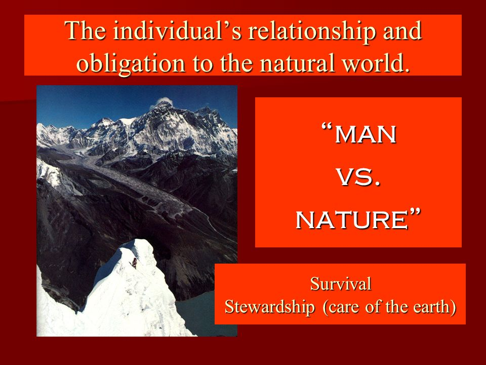 The individual's relationship and obligation to the natural world.