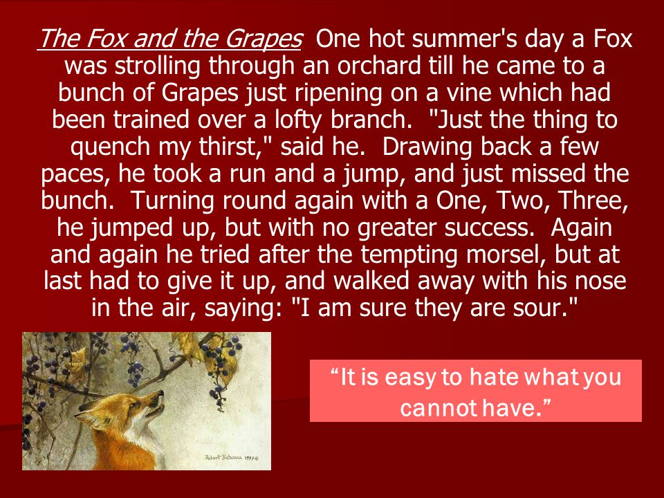 The Fox and the Grapes One hot summer's day a Fox was strolling through an orchard till he came to a bunch of Grapes just ripening on a vine which had