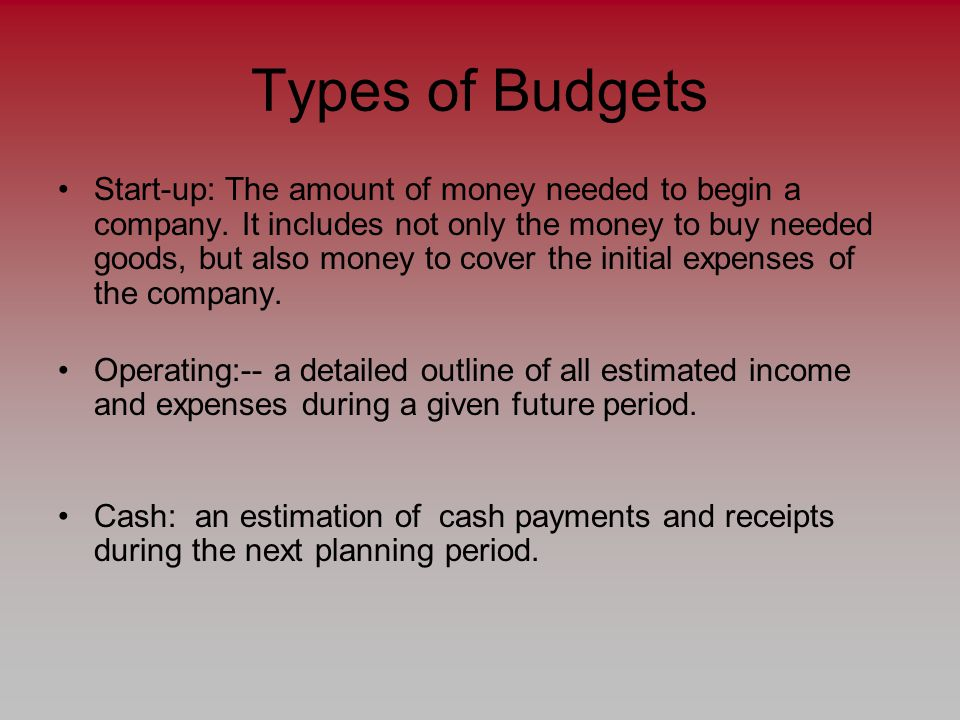 Types of Budgets Start-up: The amount of money needed to begin a company.