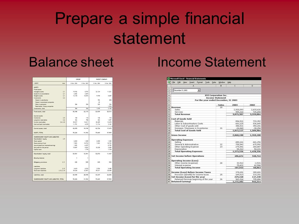 Prepare a simple financial statement Balance sheet Income Statement