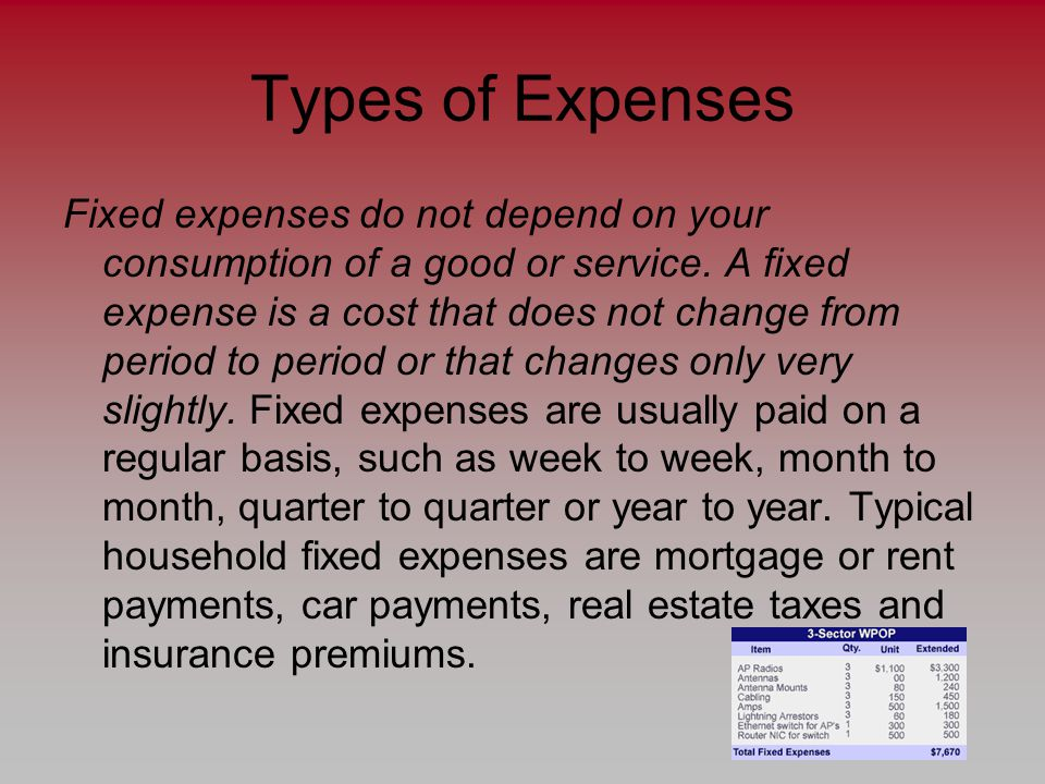 Types of Expenses Fixed expenses do not depend on your consumption of a good or service.
