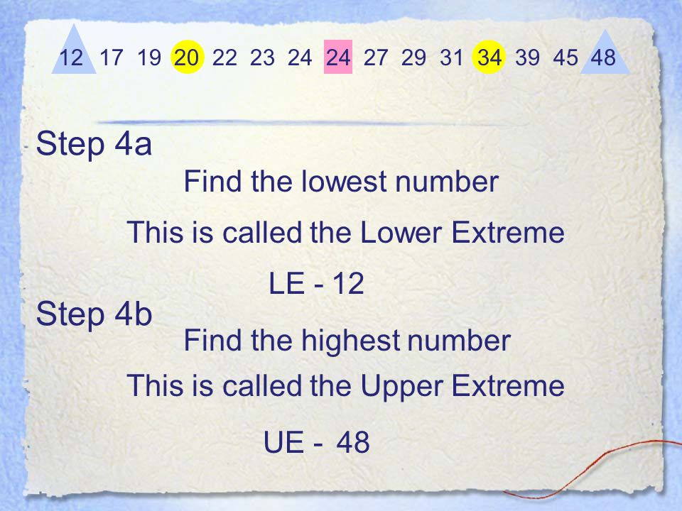 Step 4a Find the lowest number 12 17 19 20 22 23 24 24 27 29 31 34 39 45 48 12 This is called the Lower Extreme LE - Find the highest number This is called the Upper Extreme 48UE - Step 4b