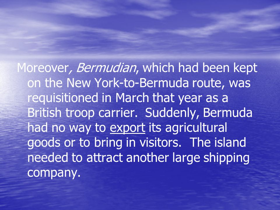 The train by contrast, offered The train by contrast, offered all-weather comfort, travelling the length of Bermuda via 33 bridges which linked the islands and crossed the coastal inlets.