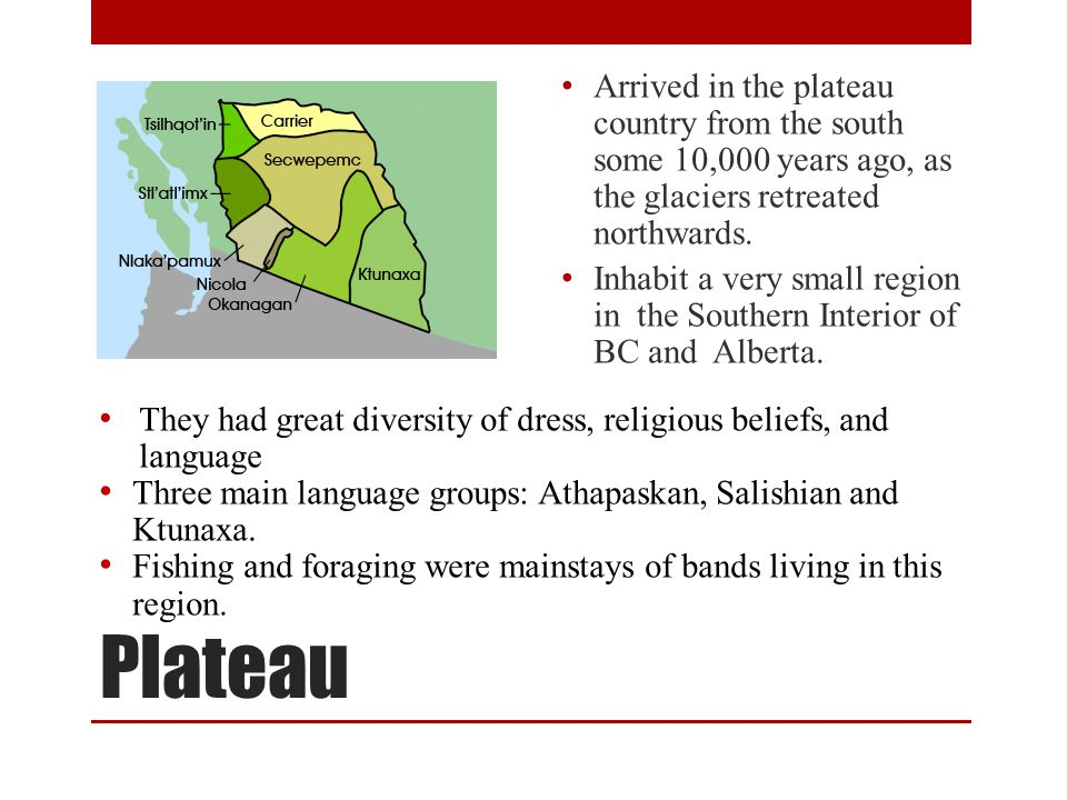 Plateau Arrived in the plateau country from the south some 10,000 years ago, as the glaciers retreated northwards.