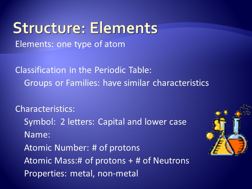 Elements: one type of atom Classification in the Periodic Table: Groups or Families: have similar characteristics Characteristics: Symbol: 2 letters: