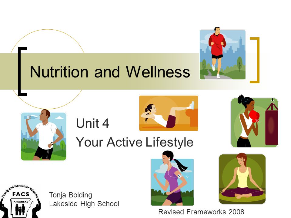 Nutrition and Wellness Unit 4 Your Active Lifestyle Tonja Bolding Lakeside High School Revised Frameworks 2008