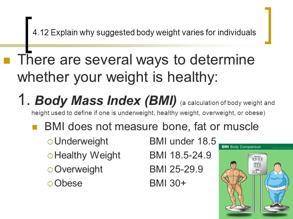 4.12 Explain why suggested body weight varies for individuals There are several ways to determine whether your weight is healthy: 1. Body Mass Index (