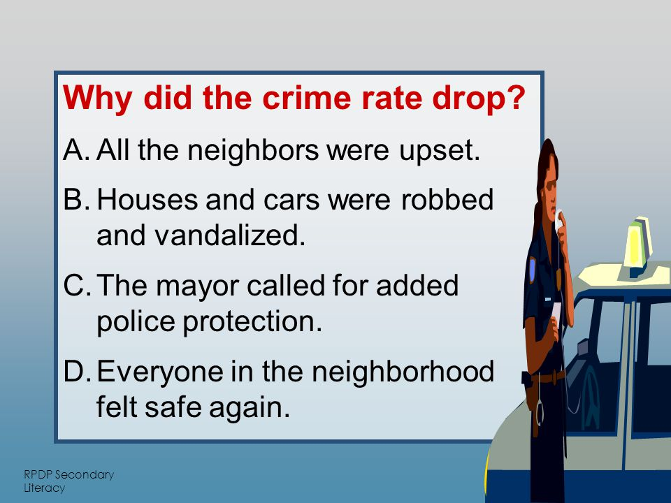 RPDP Secondary Literacy Why did the crime rate drop.