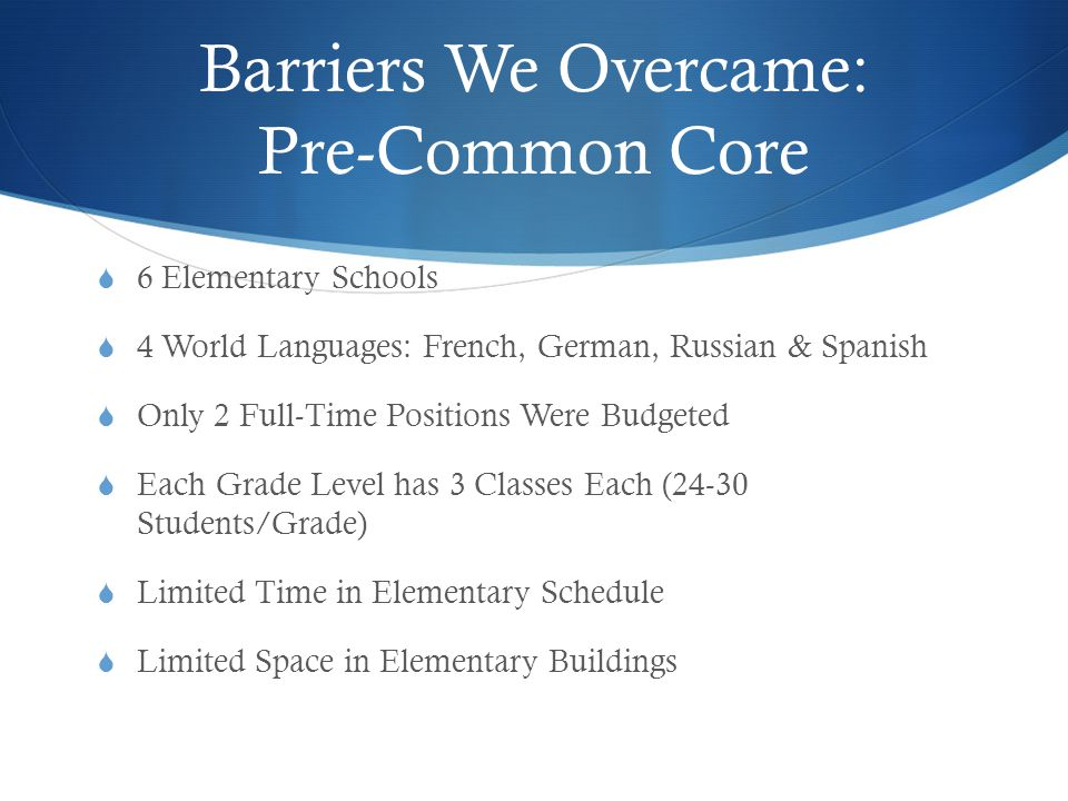 Barriers We Overcame: Pre-Common Core  6 Elementary Schools  4 World Languages: French, German, Russian & Spanish  Only 2 Full-Time Positions Were Budgeted  Each Grade Level has 3 Classes Each (24-30 Students/Grade)  Limited Time in Elementary Schedule  Limited Space in Elementary Buildings