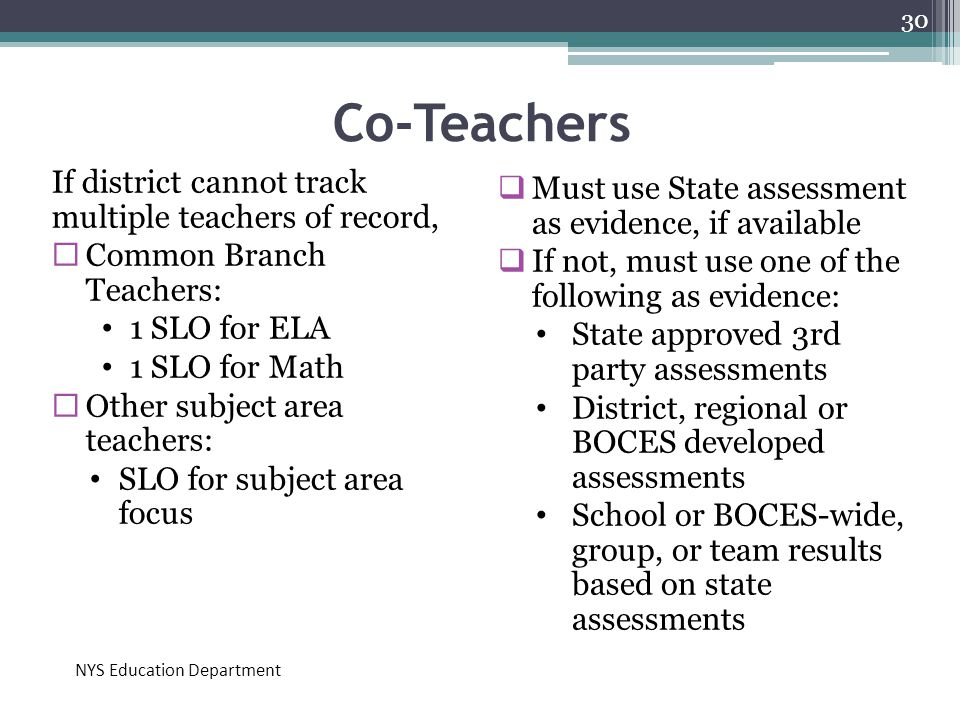 Co-Teachers If district cannot track multiple teachers of record,  Common Branch Teachers: 1 SLO for ELA 1 SLO for Math  Other subject area teachers