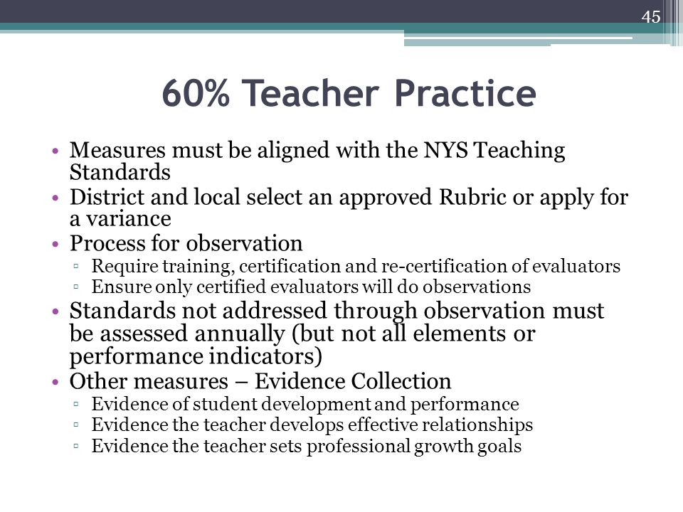 60% Teacher Practice Measures must be aligned with the NYS Teaching Standards District and local select an approved Rubric or apply for a variance Pro