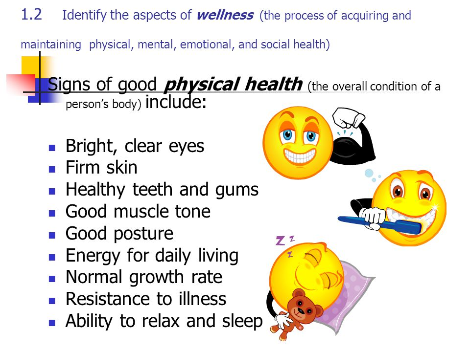 1.2 Identify the aspects of wellness (the process of acquiring and maintaining physical, mental, emotional, and social health) Signs of good physical