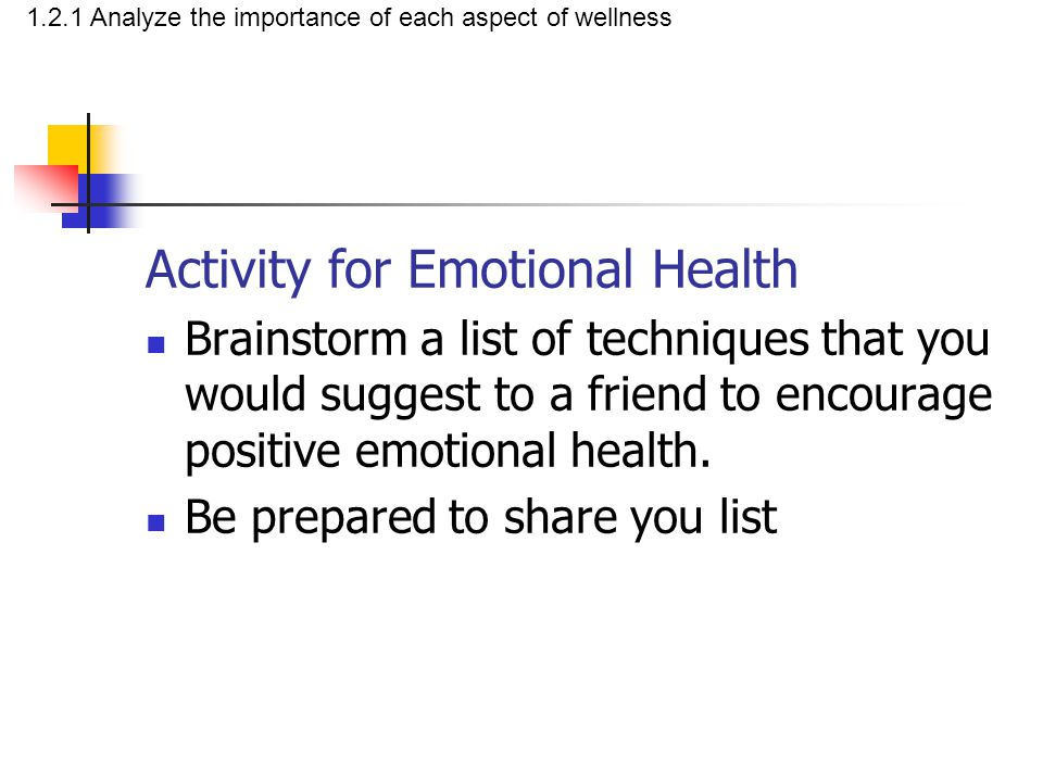 Social health (the overall condition of a person's ability to relate to others around them) involves: Your relationship with others Your ability to give and accept praise You ability to be helpful and considerate Accepting rules and responsibilities Dealing with conflict in a constructive way Handling peer pressure without compromising your values