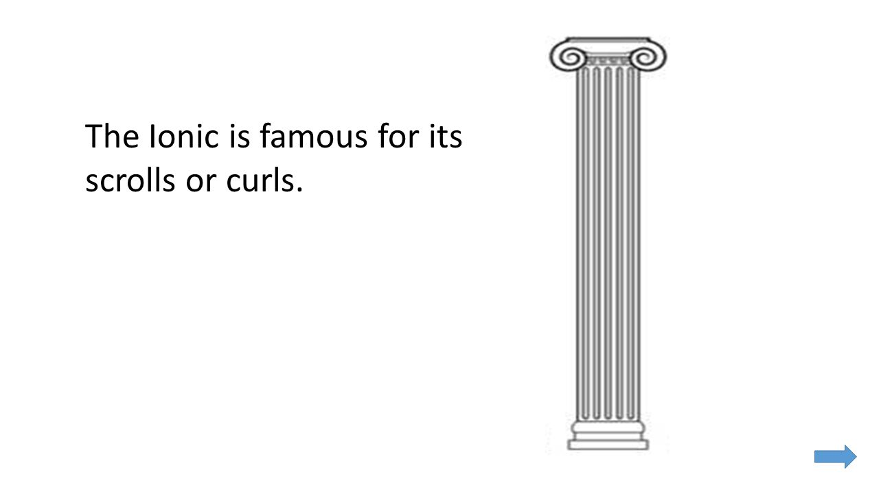The Ionic is famous for its scrolls or curls.