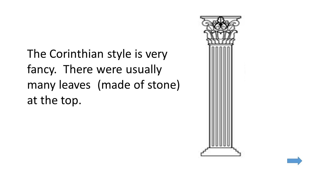 The Corinthian style is very fancy. There were usually many leaves (made of stone) at the top.