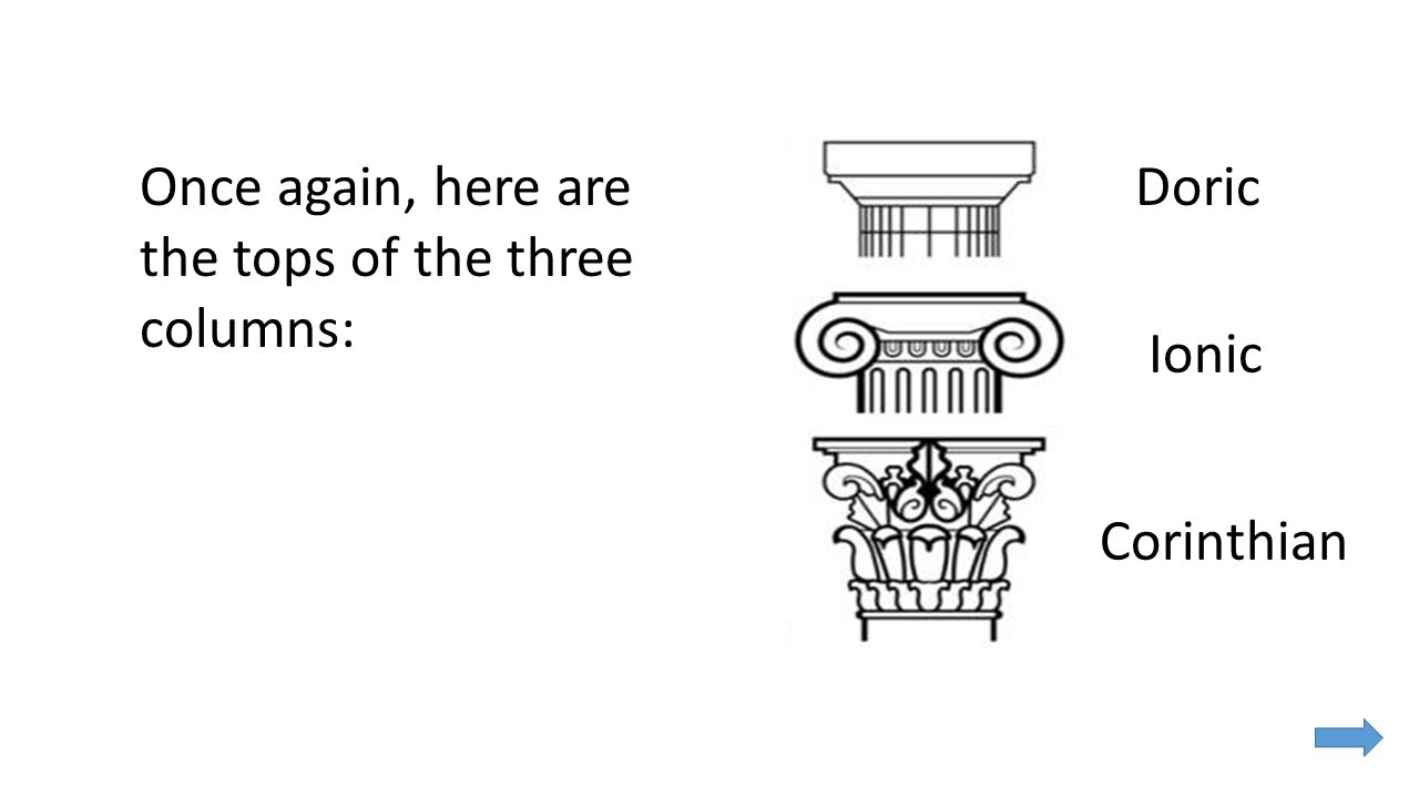Once again, here are the tops of the three columns: Ionic Doric Corinthian