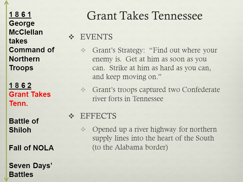 Grant Takes Tennessee  EVENTS  Grant's Strategy: Find out where your enemy is.