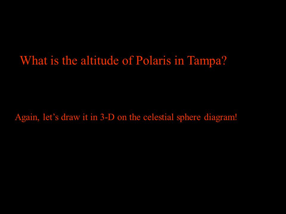 Tampa, Florida What is the altitude of Polaris in Tampa? (Use the pointer stars of the Big Dipper) 0 10 20 30 40 50 60 70