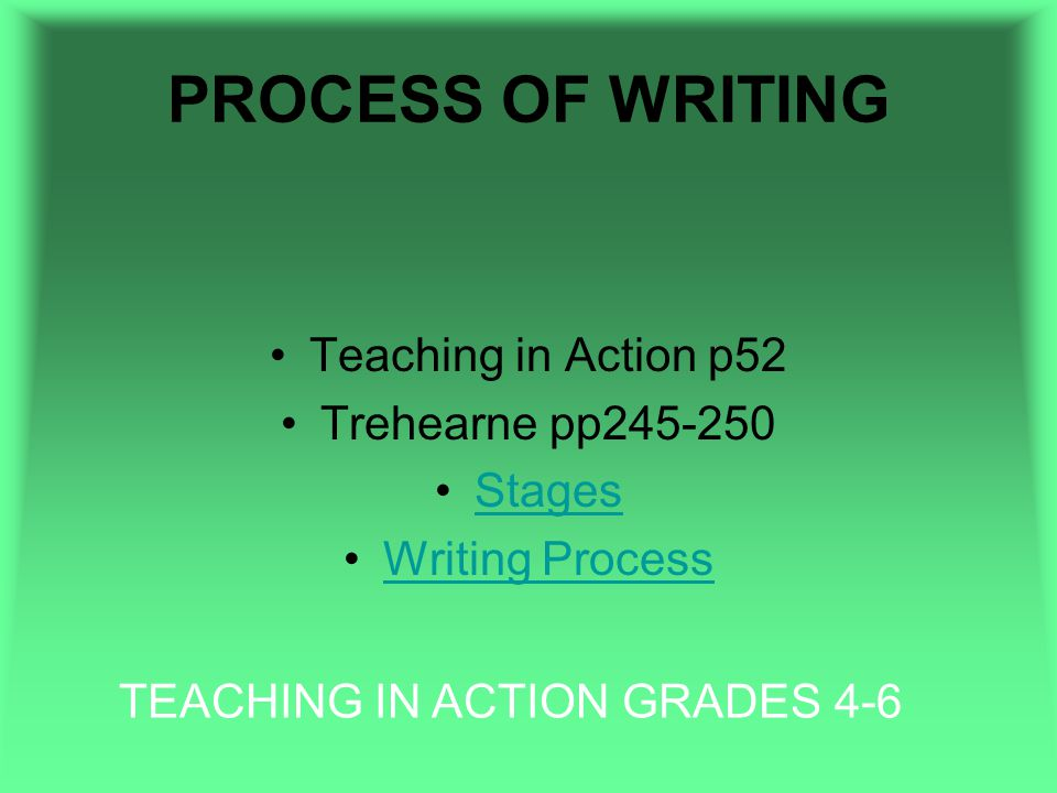 PROCESS OF WRITING Teaching in Action p52 Trehearne pp245-250 Stages Writing Process TEACHING IN ACTION GRADES 4-6