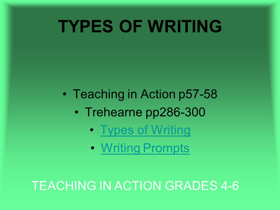 TYPES OF WRITING Teaching in Action p57-58 Trehearne pp286-300 Types of Writing Writing Prompts TEACHING IN ACTION GRADES 4-6