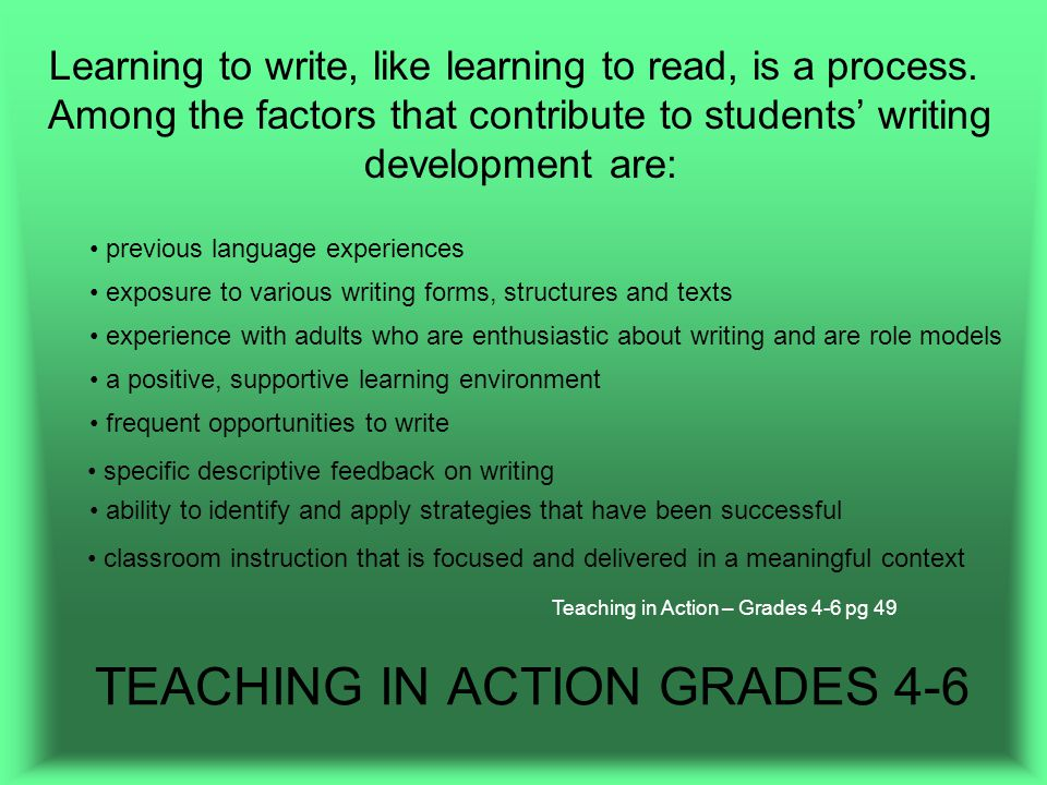 TEACHING IN ACTION GRADES 4-6 Learning to write, like learning to read, is a process.