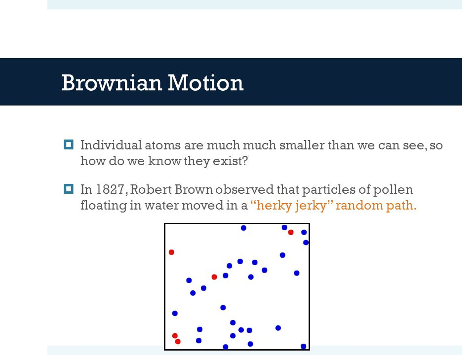 Brownian Motion  Individual atoms are much much smaller than we can see, so how do we know they exist.