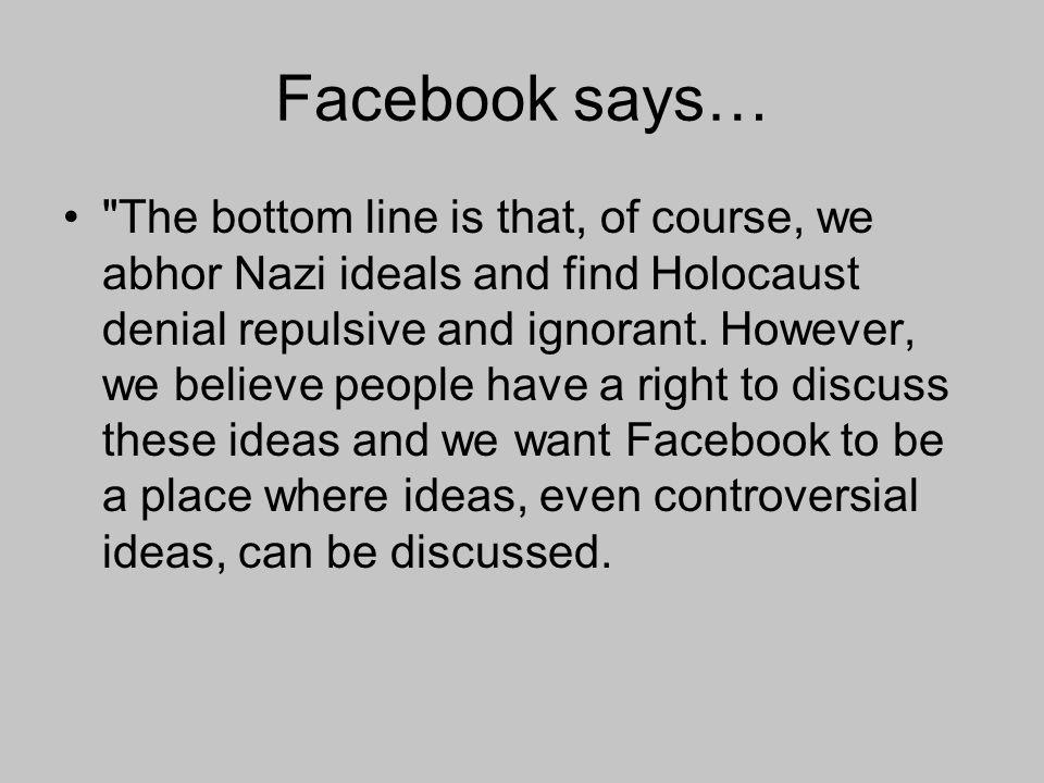Facebook says…