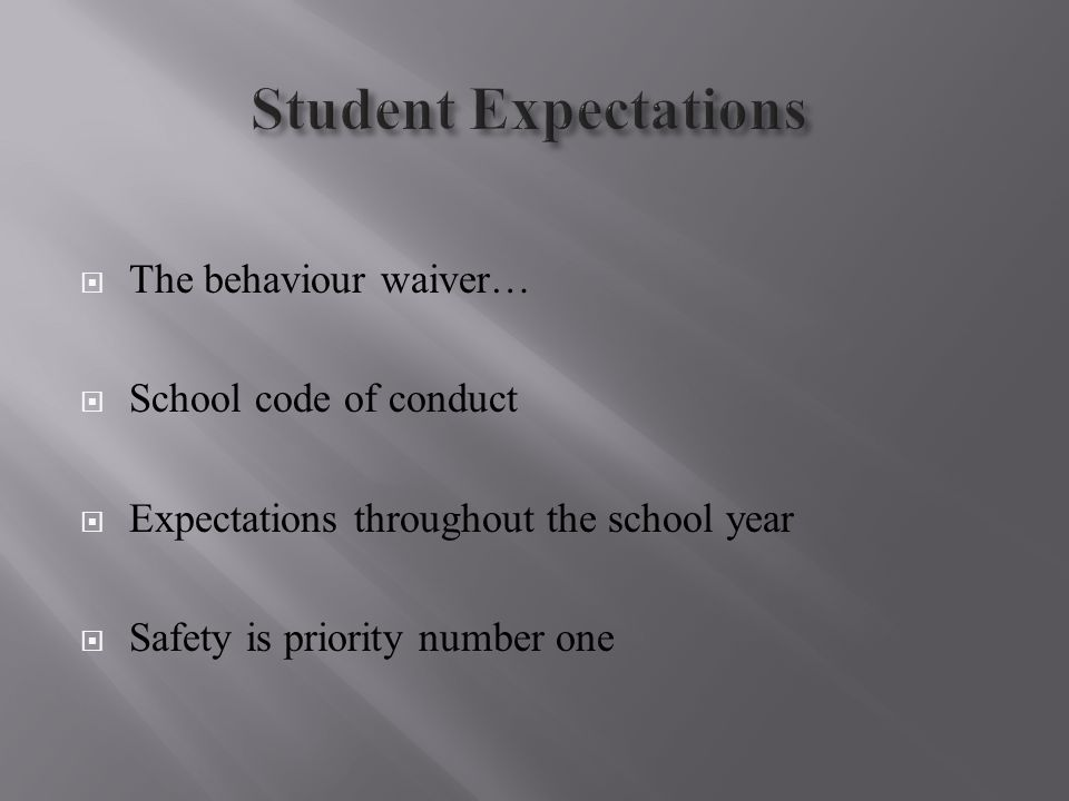  The behaviour waiver…  School code of conduct  Expectations throughout the school year  Safety is priority number one