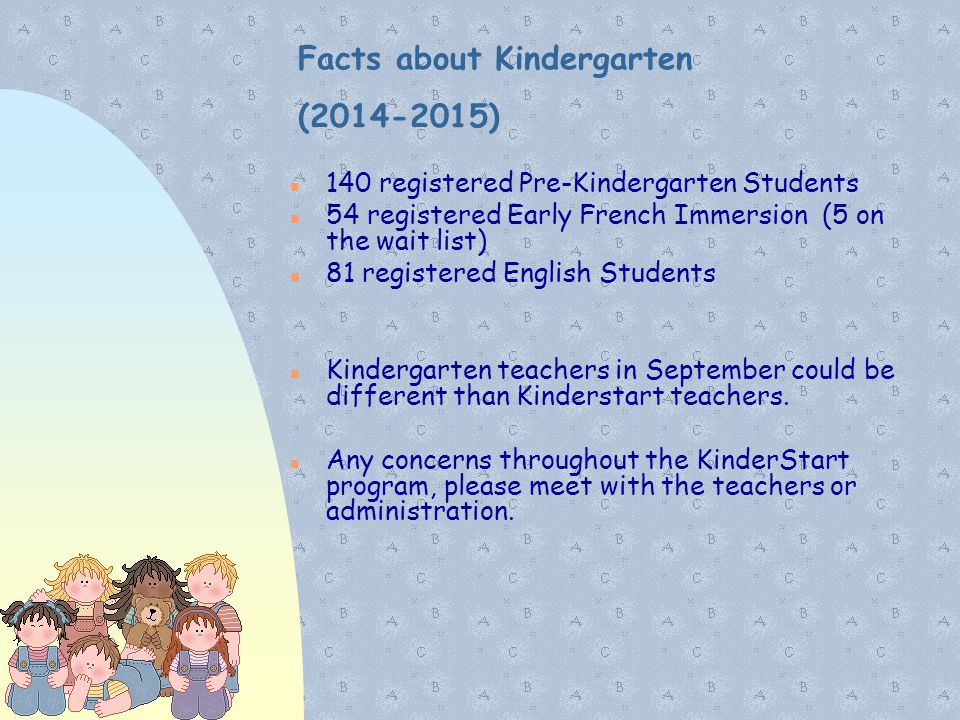 Facts about Kindergarten (2014-2015) 140 registered Pre-Kindergarten Students 54 registered Early French Immersion (5 on the wait list) 81 registered