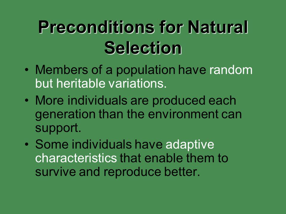 Preconditions for Natural Selection Members of a population have random but heritable variations. More individuals are produced each generation than t