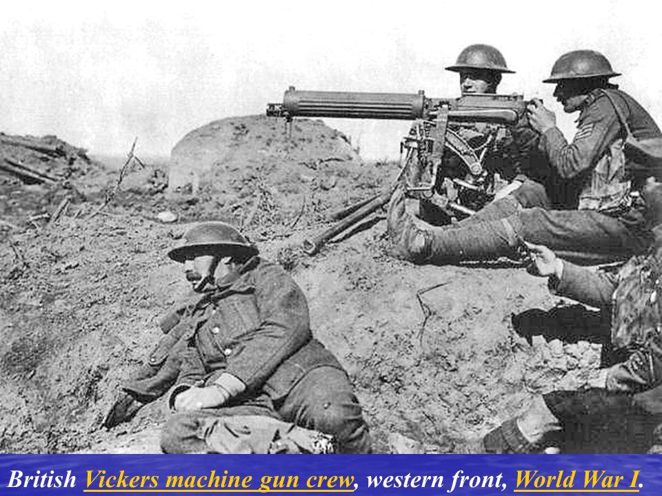 British Vickers machine gun crew, western front, World War I.Vickers machine gun crewWorld War I